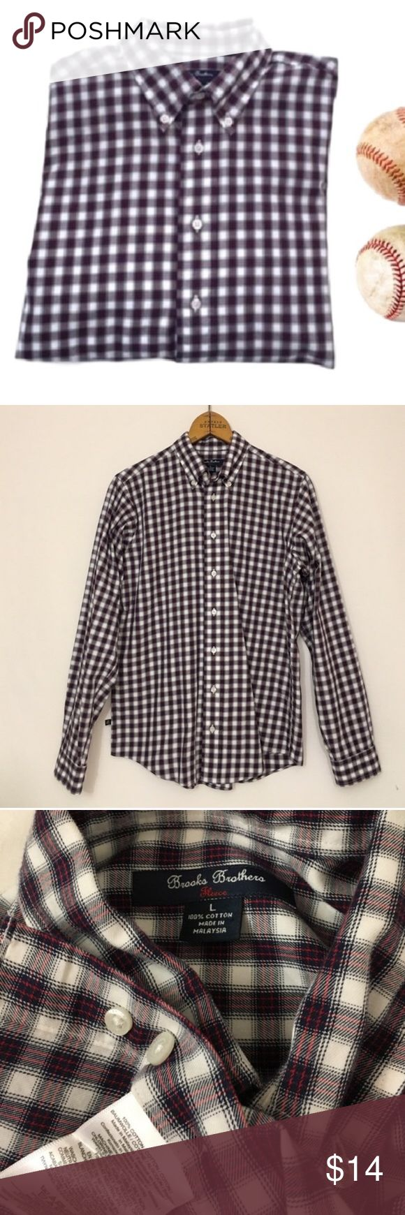 """Boys BROOKS BROTHERS fleece plaid cotton shirt Boys BROOKS BROTHERS fleece plaid cotton shirt Excellent condition! Fleece is the line name, not the material. Cotton. Machine wash. Chest 40"""" Brooks Brothers Shirts & Tops Button Down Shirts"""