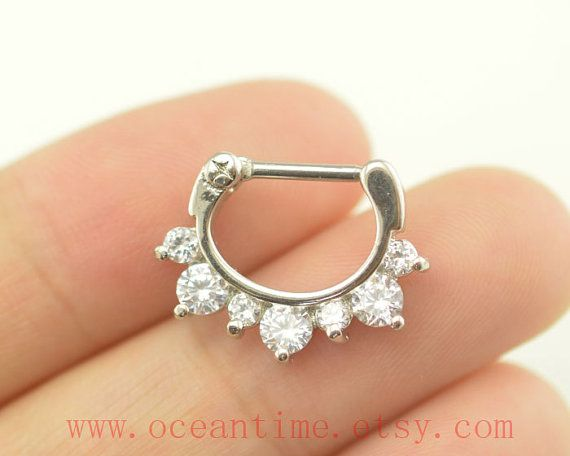 septum piercing ring,glitter diamond nose ring ,316L Surgical Steel Nose Rings,septum piercing,girlfriend gift,oceantime on Etsy, $6.99