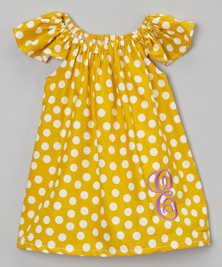 Mustard Dot Personalized Dress - Infant, Toddler & Girls
