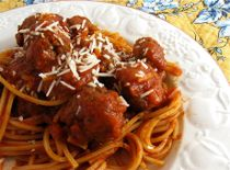 Completely Crockpot Spaghetti and Meatballs - follow recipe but add noodles 30 minutes before you eat, also works with italian sausage slices. I used one can sauce, 1 cup water, 1 can diced tomatoes.