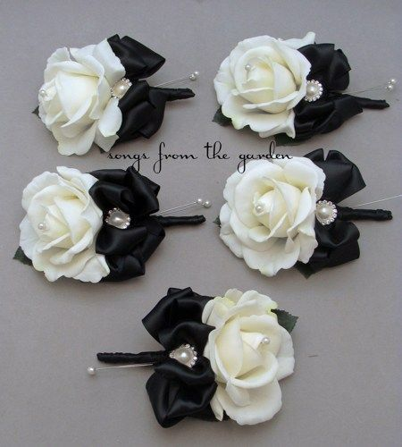 Black & White Real Touch Rose Wedding Corsage Rhinestone Pearl Accents Black Satin Ribbon