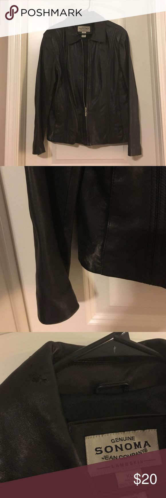 Sonoma Lambskin Leather Jacket Black lambskin jacket in XL. Lining is polyester. There is some wear, note in the pictures. Sonoma Jackets & Coats