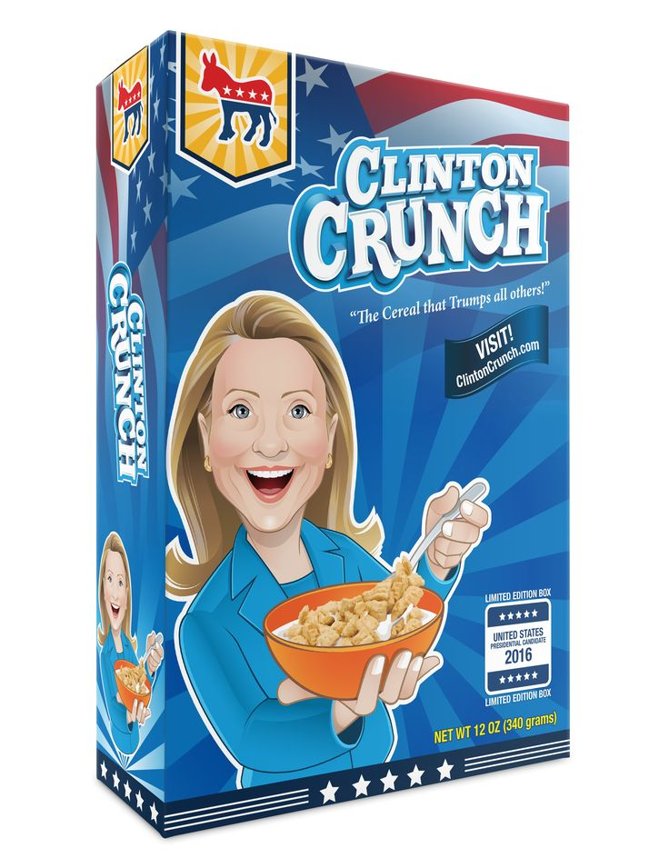 Clinton Crunch Cereal. The cereal to trump all cereals. Buy a limited edition box today! https://redd.it/54qk29