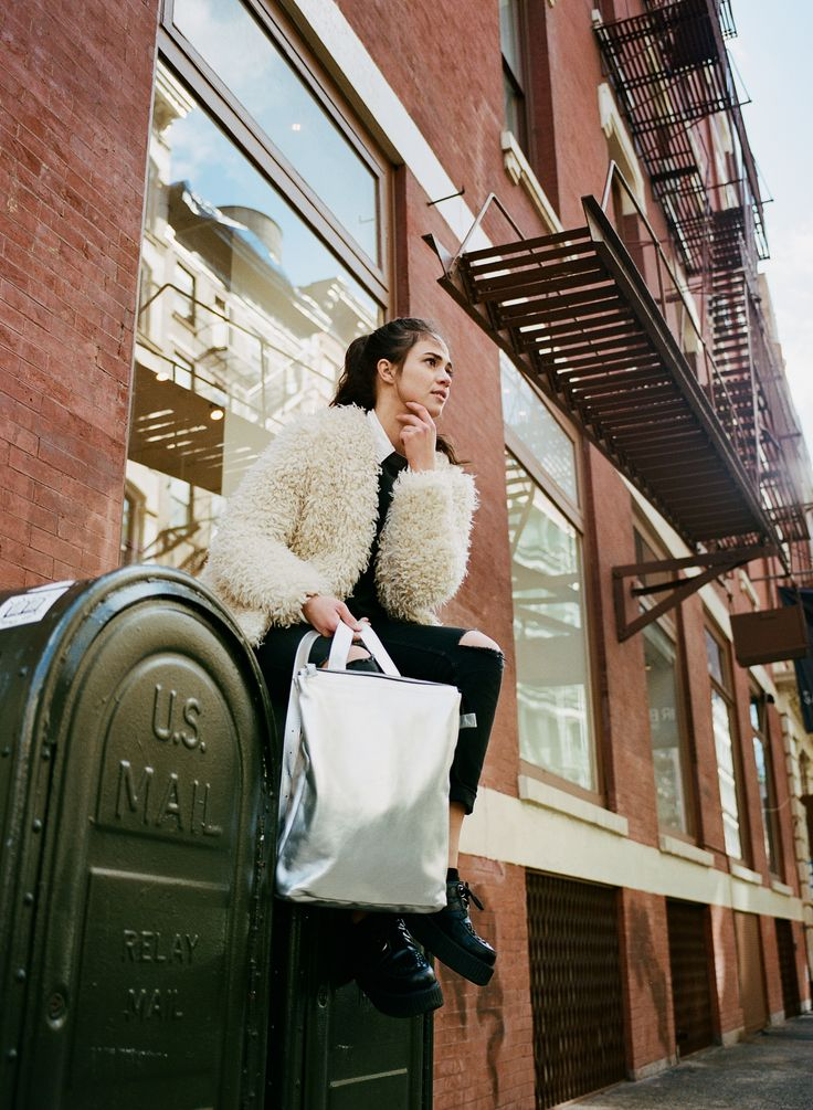 https://www.kokosina.com Kokosina f/w 2016 campaign, New York City Silver leather backpack