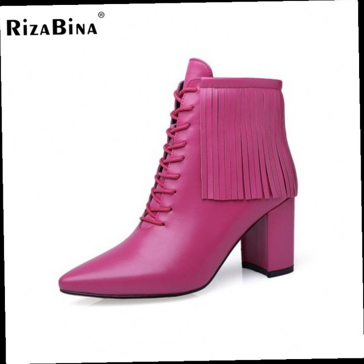 54.23$  Buy now - http://aliiew.worldwells.pw/go.php?t=32710752985 - RizaBina Size 32-44 New Women  Genuine Leather Ankle Boots Woman Pointed Toe Heels Shoes Women Fashion Tassel Thick Heel Botas  54.23$