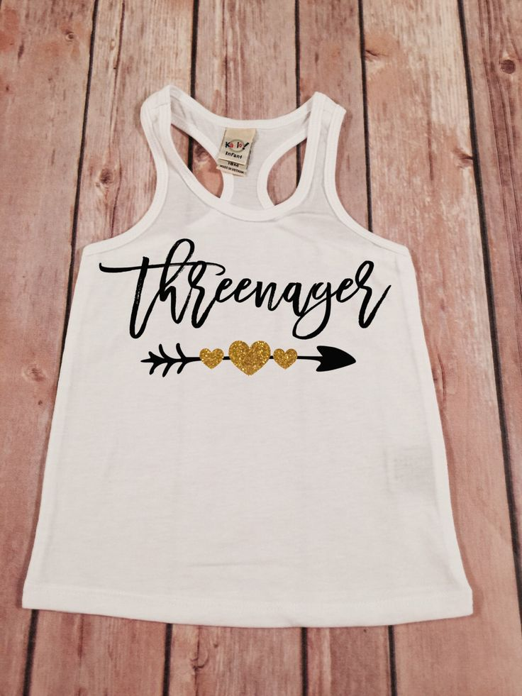 For when Norah turns 3.  Threenager Racerback tee, 3rd birthday racerback tank, Gold glitter birthday tank top,3rd birthday shirt,Three Birthday top,Threenager shirt by SnowSew on Etsy https://www.etsy.com/listing/271098976/threenager-racerback-tee-3rd-birthday