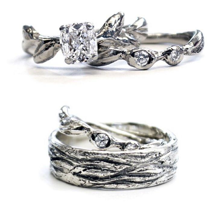 Leaf Engagement Ring And Bark Wedding Band Set By Samantha