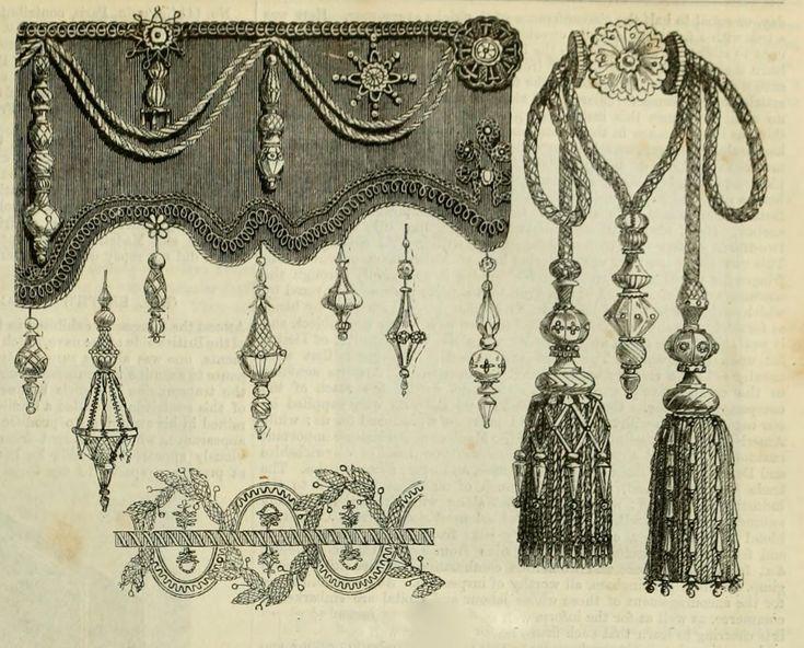 Vintage Ephemera: Engraving, tassels and fringe, 1851