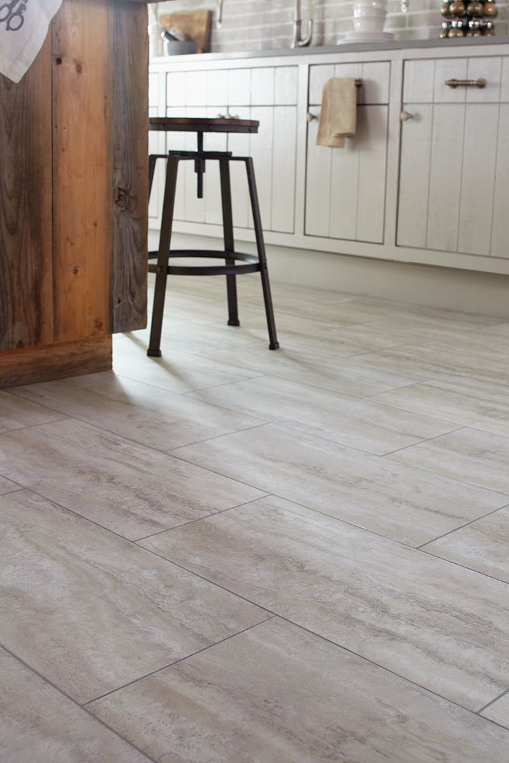 STAINMASTER® 12-in x 24-in Groutable Oyster Travertine/White Peel-and-Stick Travertine Luxury Vinyl Tile