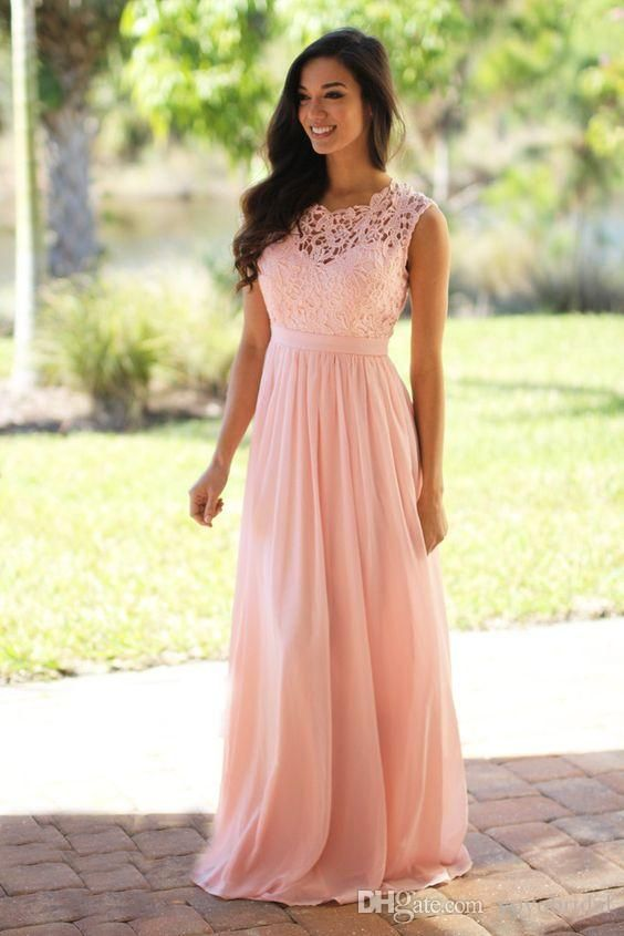 Romantic Coral Bridesmaid Dress Chiffon Lace Jewel Sheer Neck Hollow Back Long Wedding Guest Party Prom Formal Dress Gowns Custom Cheap