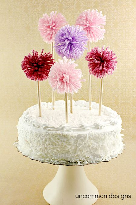Make it: pom pom cake toppers | how cute are these!? From @Bonnie &  Trish { Uncommon Designs }
