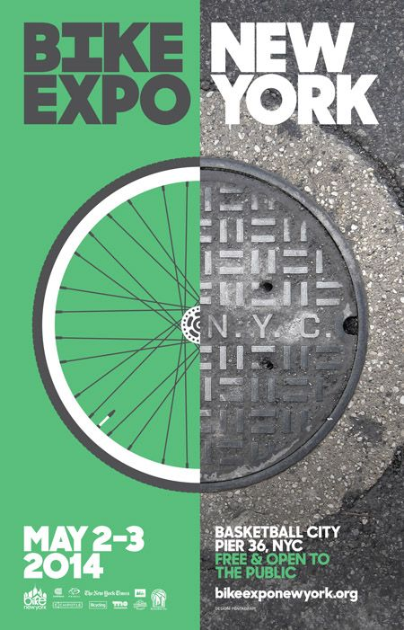 Bike expo New York - Graphic Design - Keywords: Poster, Green, Gray, White, Typography, Illustration, Photo