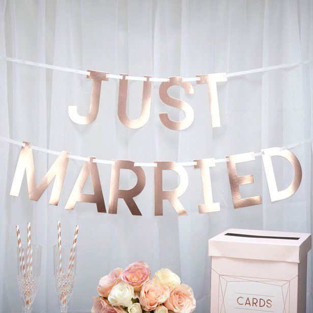 Rose Gold 'Just Married' Wedding Bunting – 1.5m – Wedding Bunting & Decorations (each)