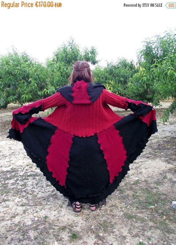 SALE Recycled sweater steampunk coat Goth coat by MariArtFelting