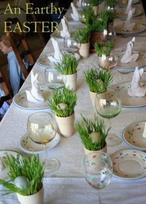 Wheat grass table setting