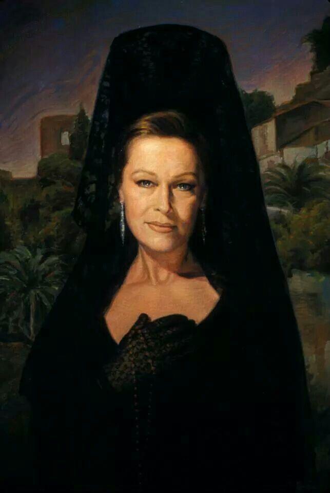 Marisol, actriz española de los años 1950 a 1960. Ataviada con mantilla para la Semana Santa.