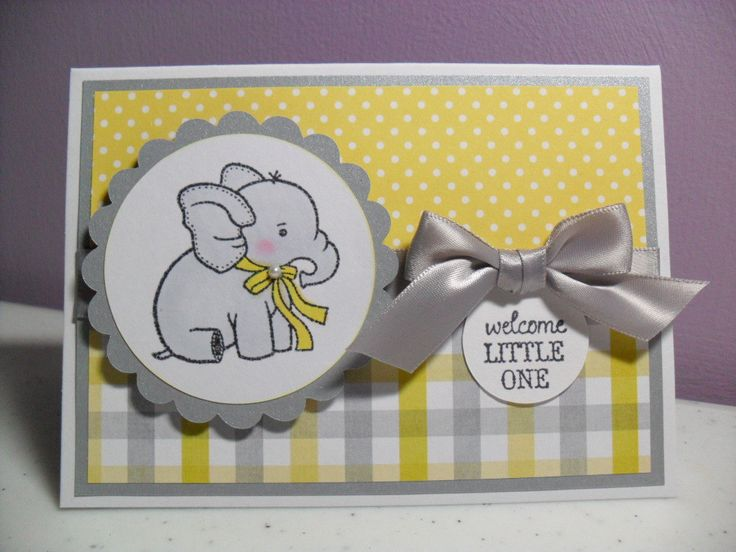 Marvelous Card Making Ideas Baby Part - 13: Handmade Baby Card - Baby Elephant Card - Welcome Little One - Yellow/Gray/