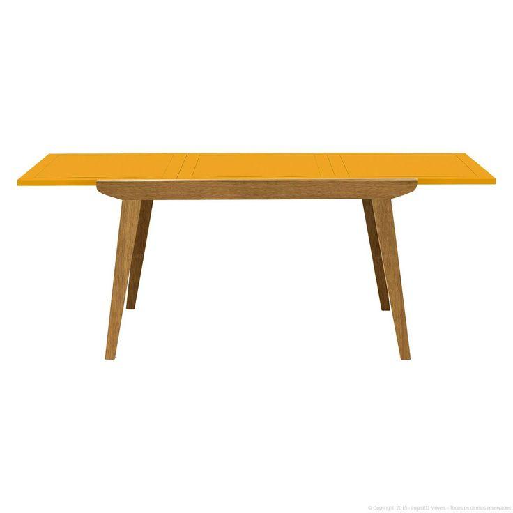 Mesa de Jantar Extensível Retangular Evita em Madeira Maciça Amêndoa/Amarelo - Urbe Móveis   Lojas KD