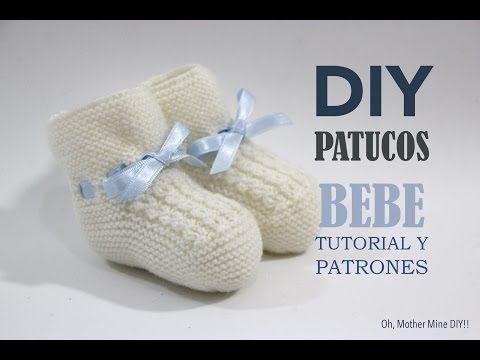 DIY Tutorial y patrones: Patucos de bebé tejidos con dos agujas :D | Manualidades