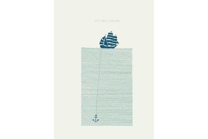 Letterpress Printed on Natural Evolution, Ivory, 280gsm paper in 2 coulours ink. (Light blue and Teal) Artist: Ben Grib, Size: 230 x 310mm,