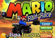 Juego de Mario Rain Race: Mario compite en una carrera extrema en la cual debes de adelantar a todos tus adversarios para poder llegar de primero a la meta, no pases por las cajas rojas ya que te quitaran velocidad, gana todas las pistas y llévate la copa del mundo de carreras de Mario.