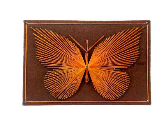 Mariposa cadena arte pared colgante placa cuadro por HonestJunk