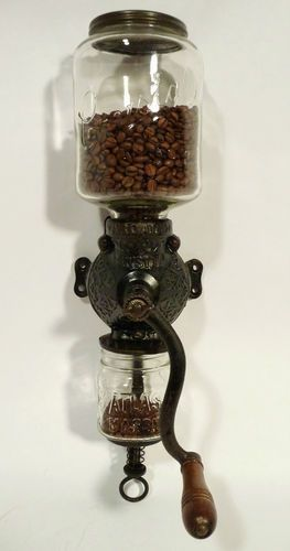 Antique coffee grinder – wall mounted – cast iron – hand crank