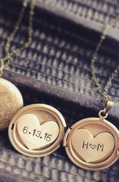 Personalized jewelry, Bridal wedding date initial necklace