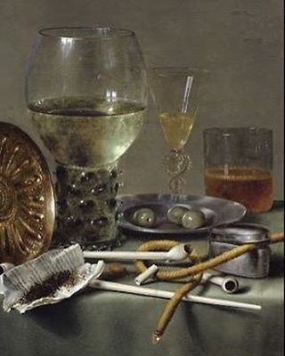 Willem Claesz Heda• Dutch 1590-1680 Detail of one of his Baroque paintings of Glasses and Tobacco c 1633