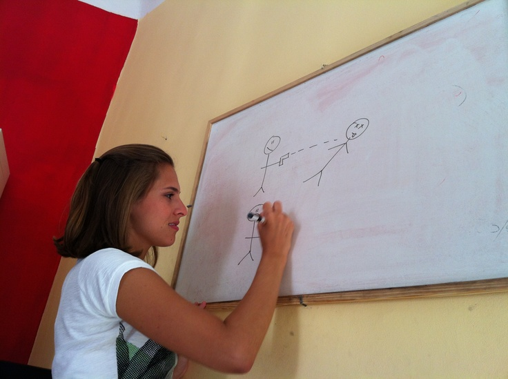 Our student, Alice, during the Italian lesson!