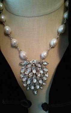 Baroque Pearl/Vintage Rhinestone Dress Clip