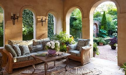 A backyard loggia offers cushy rattan seating and for Garden rooms kirstie allsopp