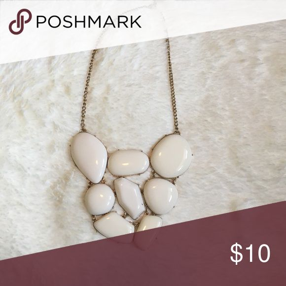 White statement necklace White necklace Jewelry Necklaces