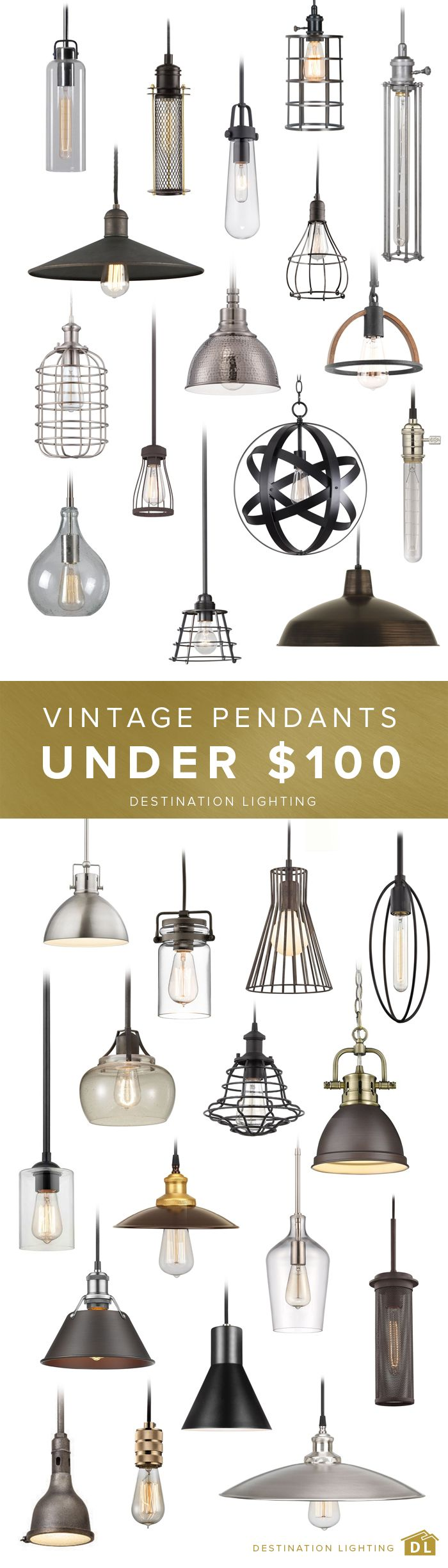 All the vintage style you could ever need, for less than $100. Come take a look at Destination Lighting.