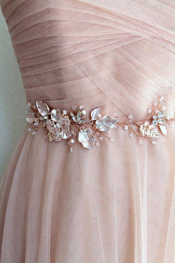 Rose gold Leaf Vine Bridal Sash. Blush Boho Delicate Crystal Wedding Dress  Belt. Rhinestone Pearl Pink Floral Belt. BEA dcbd28754