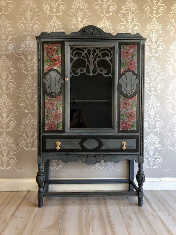 Painted Upcycled Shabby Chic French Country Furniture Vintage China Display Cabinet Farmhouse