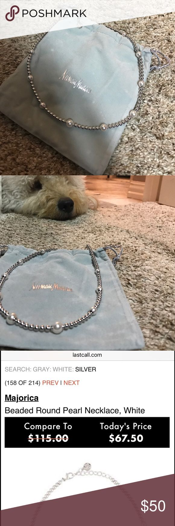 Neiman Marcus necklace.  Still online for over $. Neiman Marcus/ Majorca Chocker style sterling silver and fresh water pearl necklace.   Brand new never worn! Still selling online for $67.00.   I personally do not look good in chokers no matter how bad I want to! Neiman Marcus Jewelry Necklaces