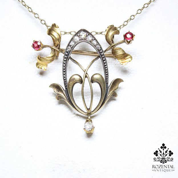 Antique Art Nouveau 18k Gold Diamond & Ruby Necklass