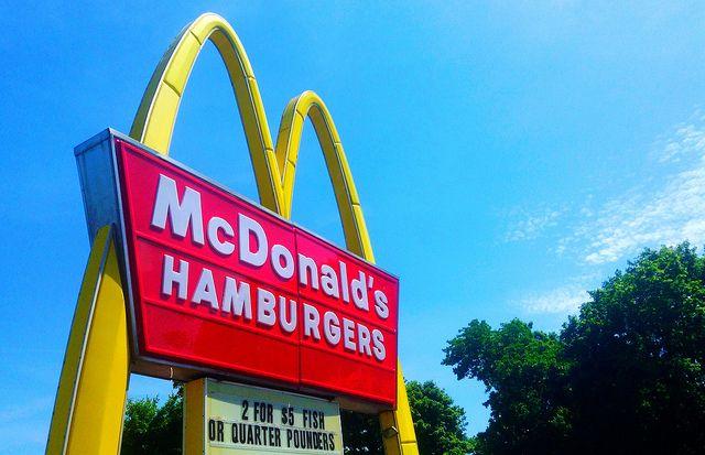 A McDonald's sign in Meriden, Connecticut.