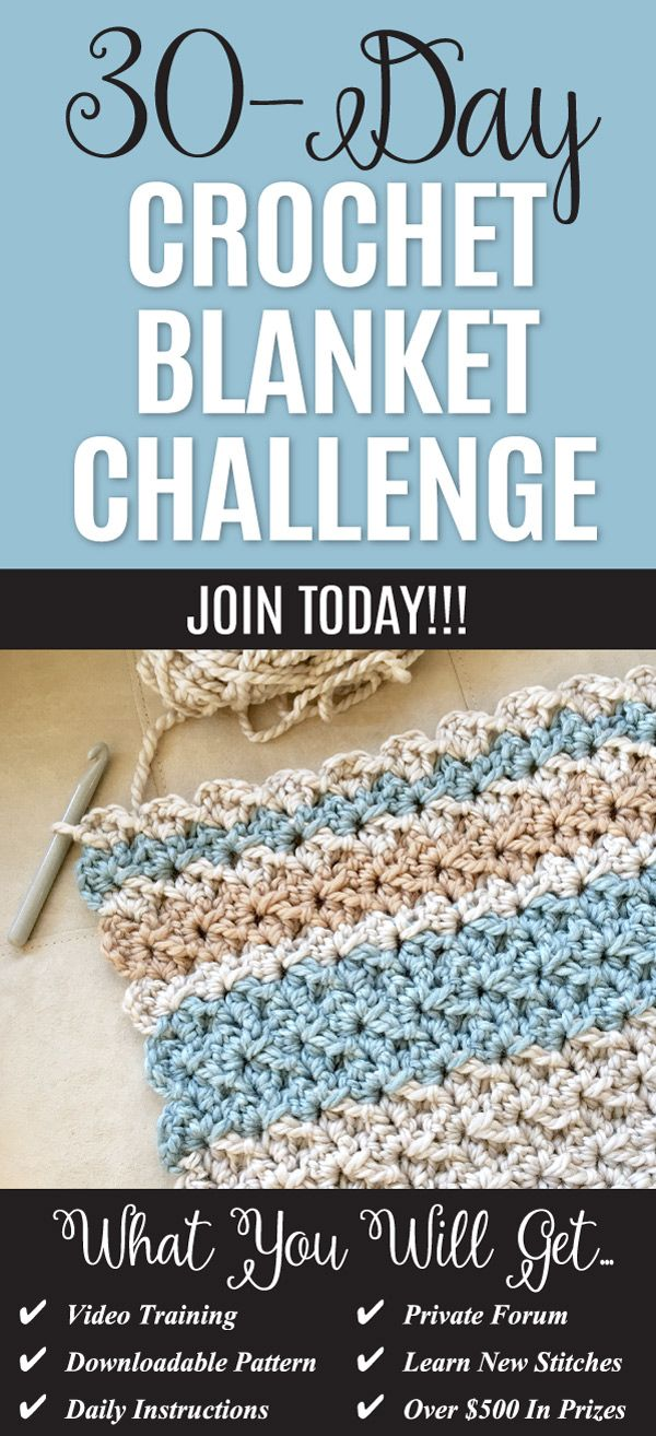 """Join our gang in the 30-Day Crochet challenge and make this gorgeous """"mega squishy blanket"""". Follow along step-by-step with an instructor and all the other participants. Join now!"""
