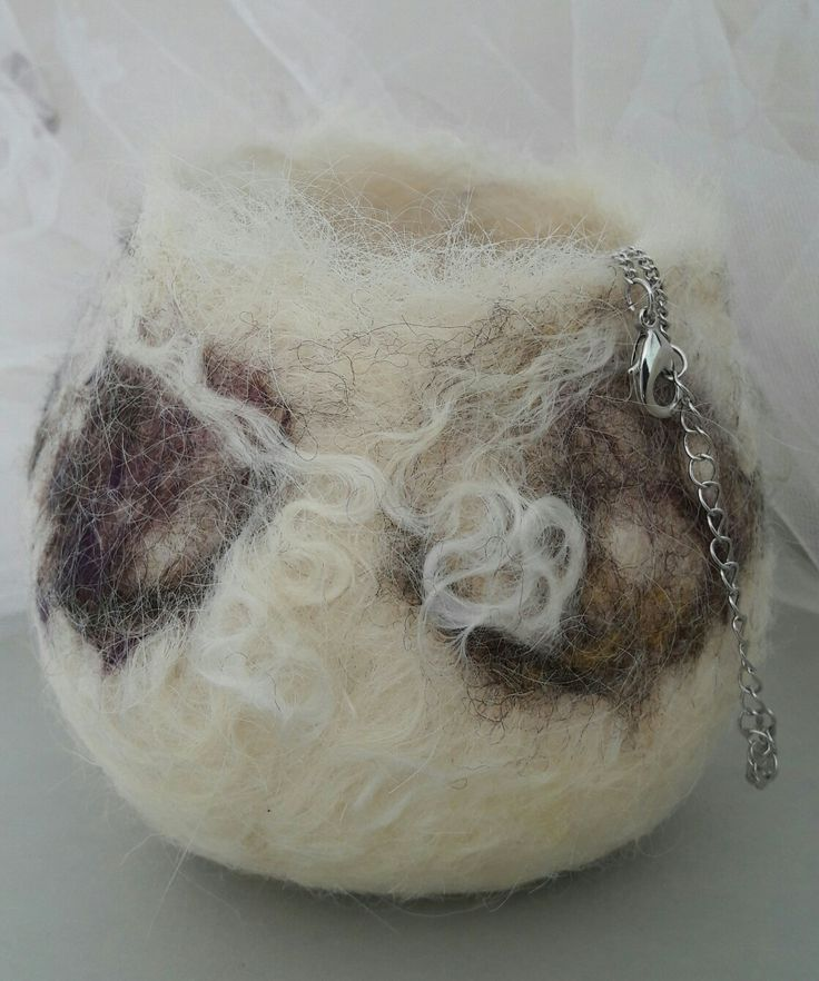 Felted bowl made with white Devon top wool and curly wool locks. By Amanda Smith FeltFabulousGifts on Etsy