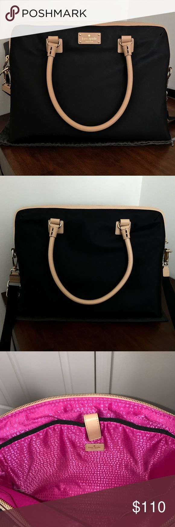 Kate Spate Commuter Bag NWOT FEATURES: -Black nylon exterior  -Nude leather trim and handles -Gold plated hardware -Detachable shoulder strap included  DETAILS: -BRAND NEW, never used -No wear or imperfections  -Smoke and pet free home kate spade Bags