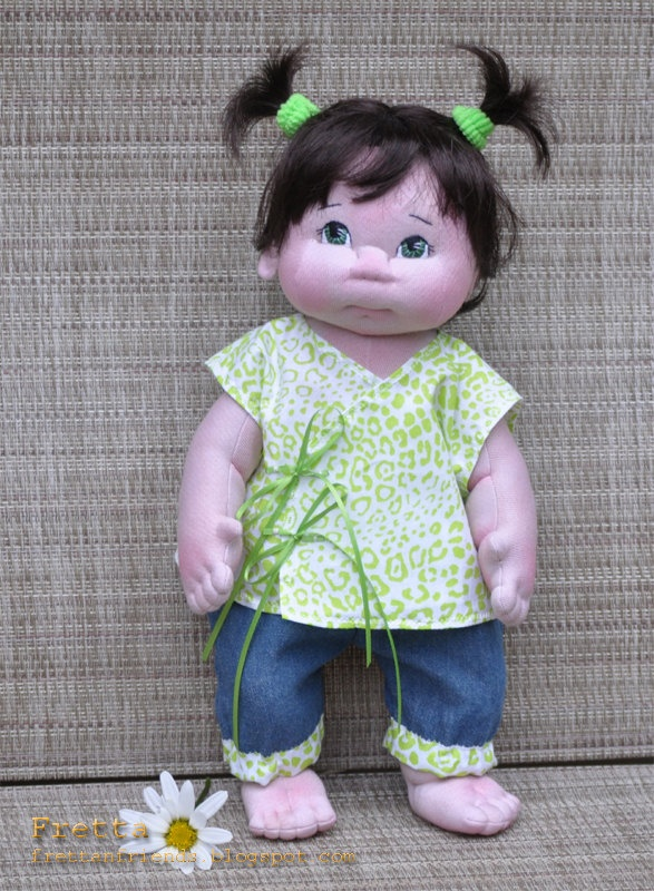 """Little Darling 10'2012. 38 cm / 15"""" Soft Sculpture Baby Girl, Child Friendly Cloth Doll."""