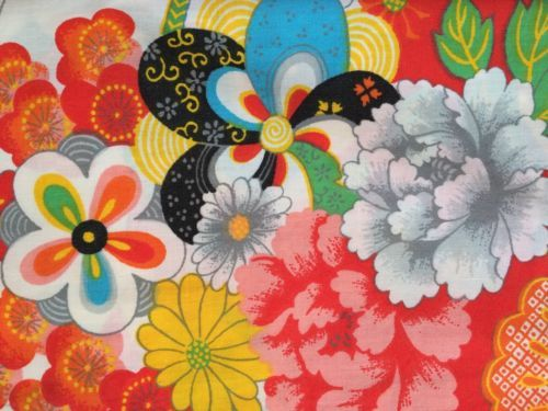 vtg wamsutta full flat bold kimono asian 1970s fabric percale retro mod floral vintage