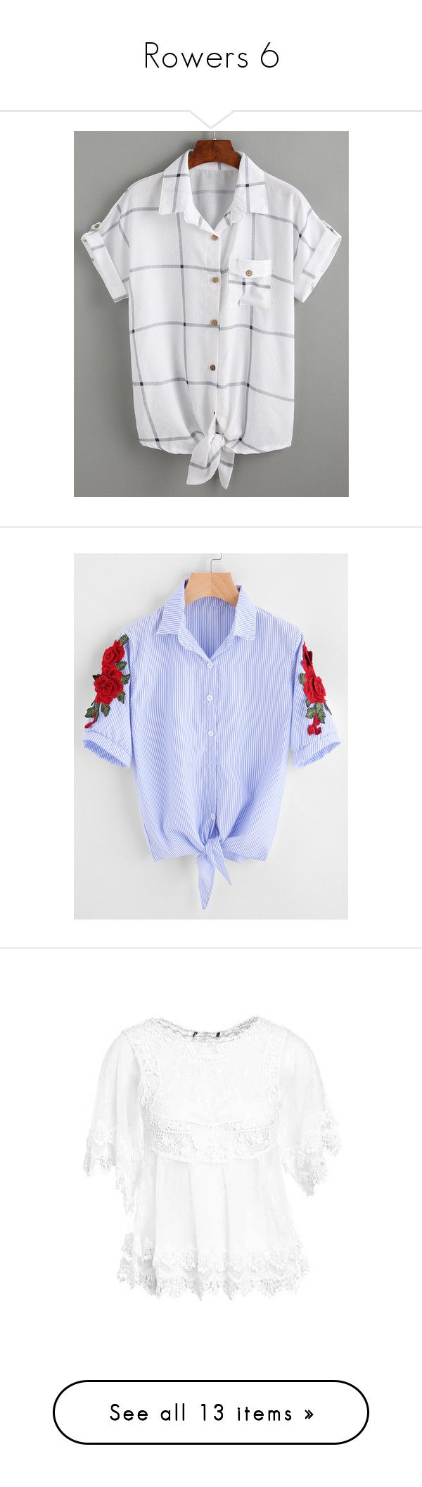 """""""Rowers 6"""" by laumariborche ❤ liked on Polyvore featuring tops, blouses, roll sleeve blouse, collar blouse, white blouses, white short sleeve top, embellished collar blouse, blue, embroidery blouses and blue striped blouse"""