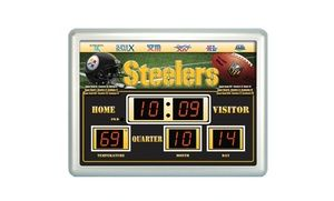 Show your team spirit with this NFL scoreboard wall clock that's perfect for hanging up in a bar, rec room, den, or bedroom