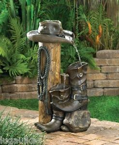 New Wild Western Water Fountain Cowboy Style Home Decor