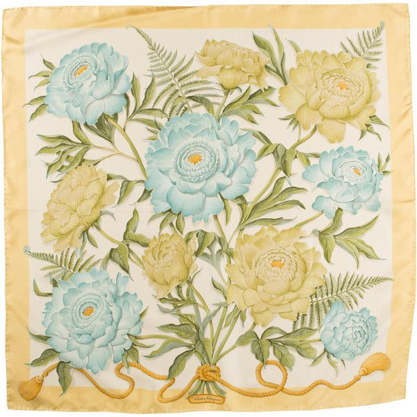 Pre-owned Salvatore Ferragamo Silk Scarf ($95) ❤ liked on Polyvore featuring accessories, scarves, yellow, colorful scarves, silk shawl, floral print scarves, pure silk scarves e yellow shawl