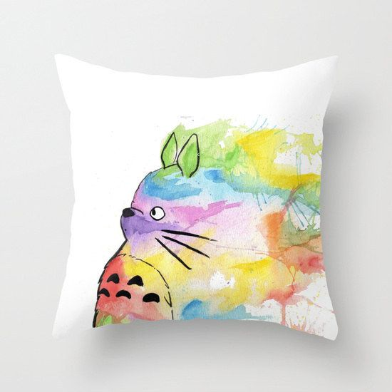 Rainbow Totoro Pillow Cover | 47 Insanely Adorable Studio Ghibli Items You Need Immediately