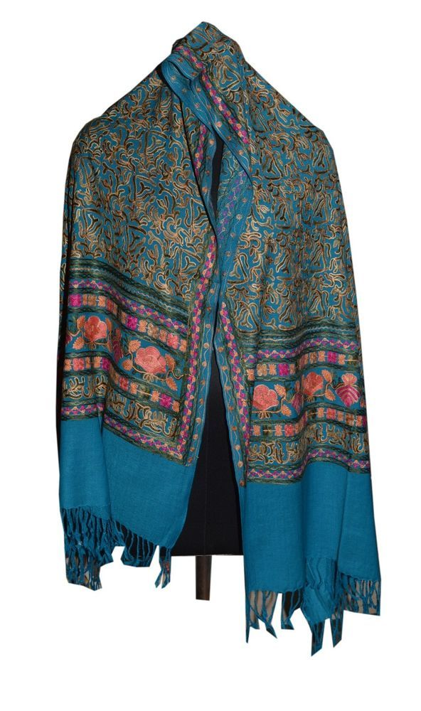 Crewel Embroidered Shawl. color Wool  Stole with Kashmir Embroidery. India 656 #ShawlWrap